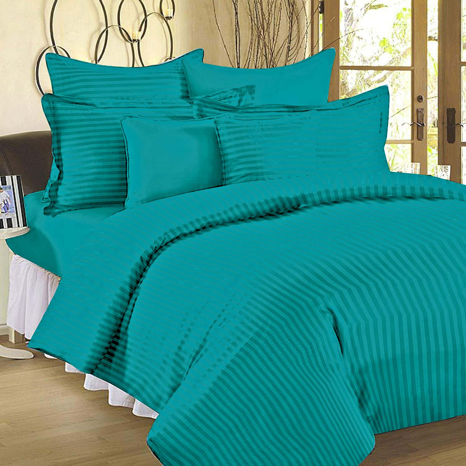 Aqua Turquoise Self Design 300 TC King Size Pure Cotton Satin Slumber Sheet for Double Bed with 2 pillow covers