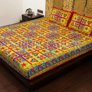 Maroon Border Rangoli Print Multi Color Cotton Double Bed Sheet
