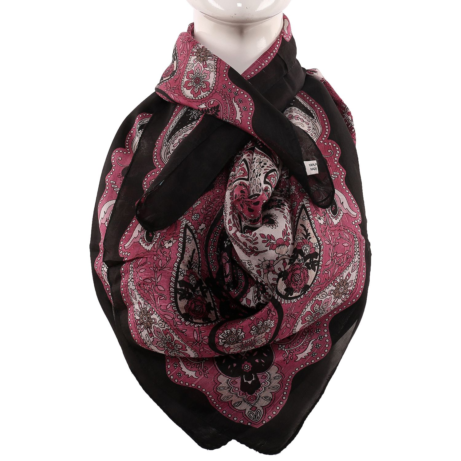 Silk Scarf Black Border Rangoli Print With Floral