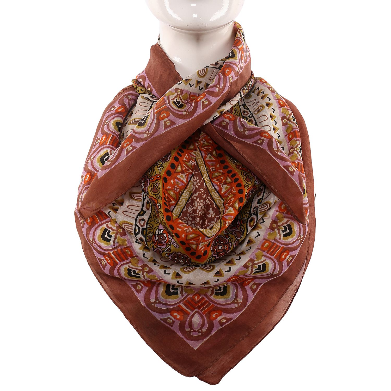 Silk Scarf Coffee Color Border With Floral Print