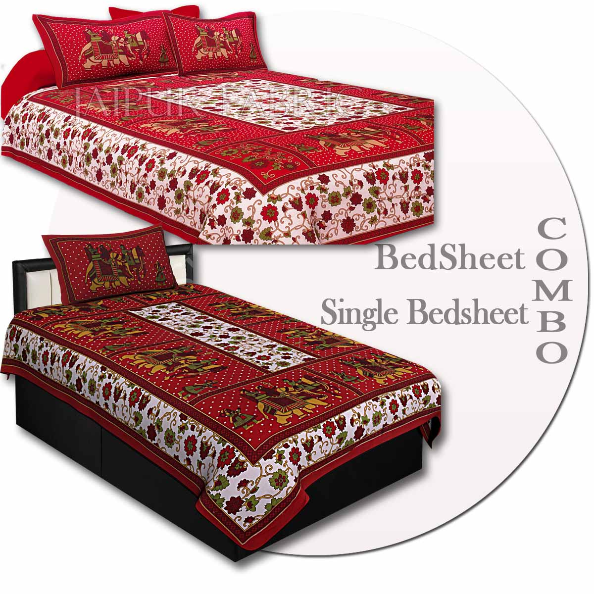 COMBO74- Set of 1 Double Bedsheet and  1 Single Bedsheet With  2+1 Pillow Cover