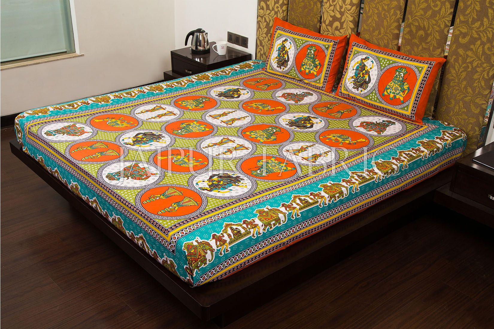 Orange Border Jaipri Fat Wedding Print Cotton Double Bed Sheet