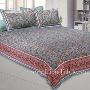 Blooming  Grey Floral Double Bedsheet