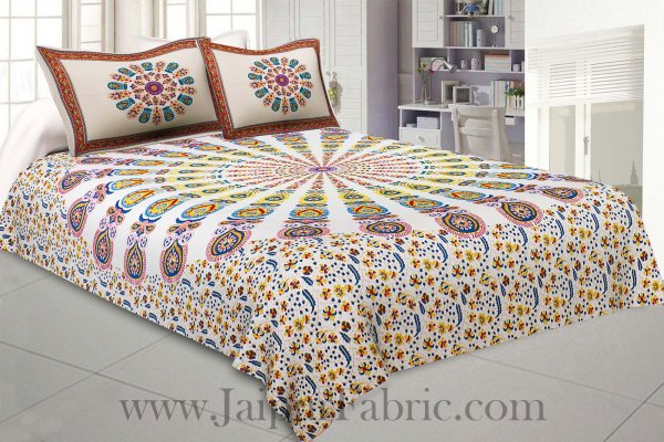 Mandala Yellow Blue Khari Gold Print Double Bedsheet with 2 Pillow Covers