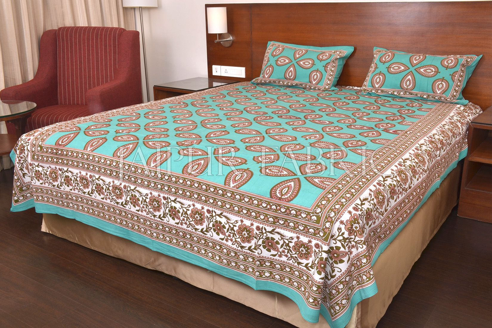 Green Color Jaipuri Paan Patti Print Double Bed Sheet