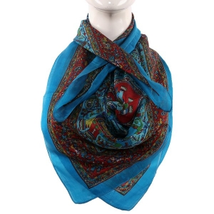 Silk Scarf  Firozi Border Elephant And Camel Print