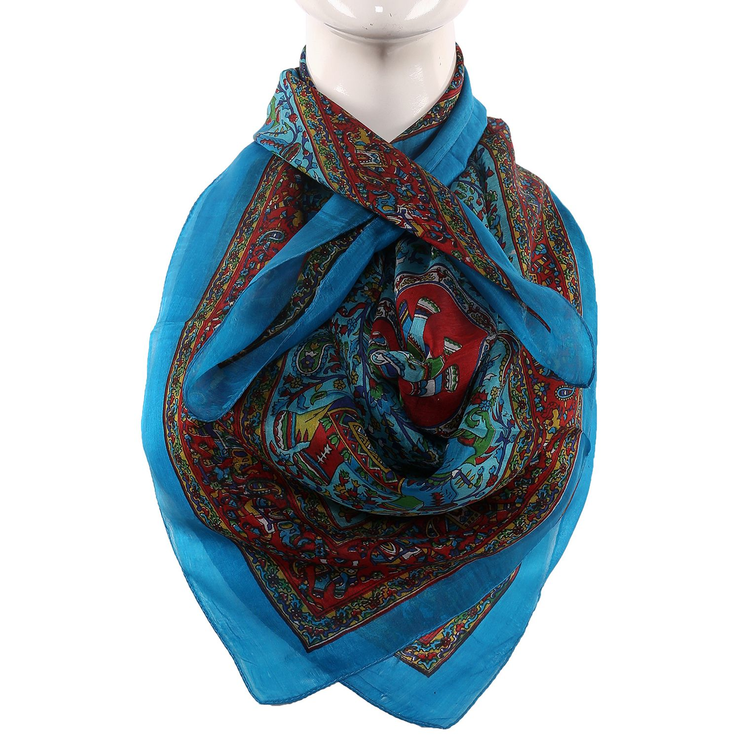 Silk Scarf Firozi Border Animal Print