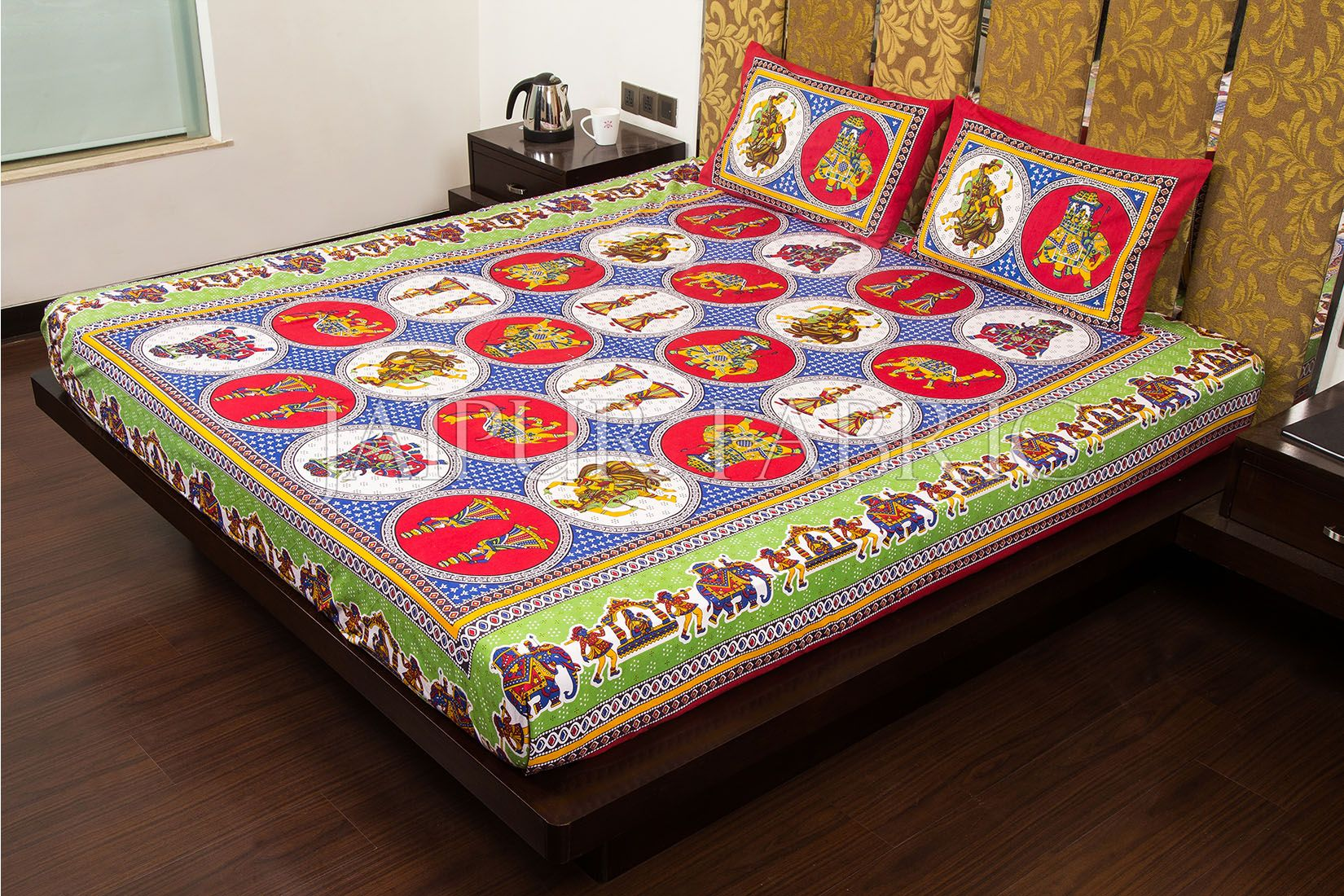 Red Border Jaipri Fat Wedding Print Cotton Double Bed Sheet
