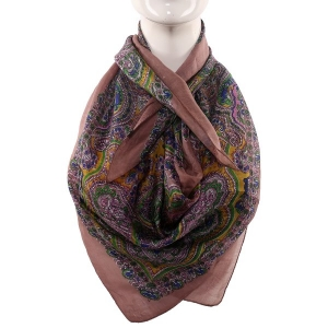 Silk Scarf Light Brown Border Multi Paisley Print