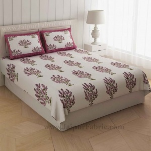 Pink Bushes On White Base Double Bedsheet