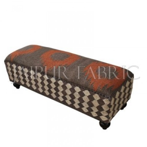 Wooden Pouf Bench Upholstered with Wool and Jute Kilim Woven