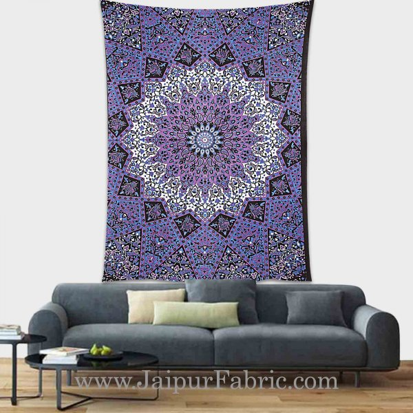 Purple Mandala tapestry wall hanging and beach throw