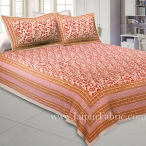 Peaceful Cream Double Bedsheet with Gold Work