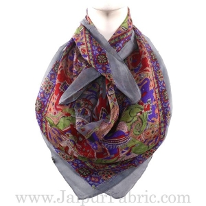 Silk Scarf Grey With Horse Print