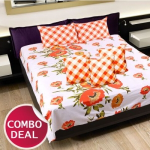 COMBO20 - Set Of Double Bed Sheet and 3 Cushion Covers