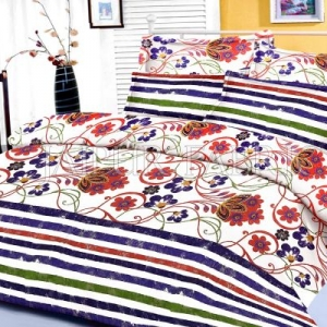 Blue Floral and Slanting Stripe Border King Size Cotton Bed Sheet