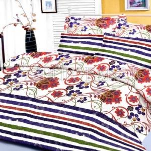 Blue Floral and Slanting Stripe Border King Size Cotton Bed Sheet