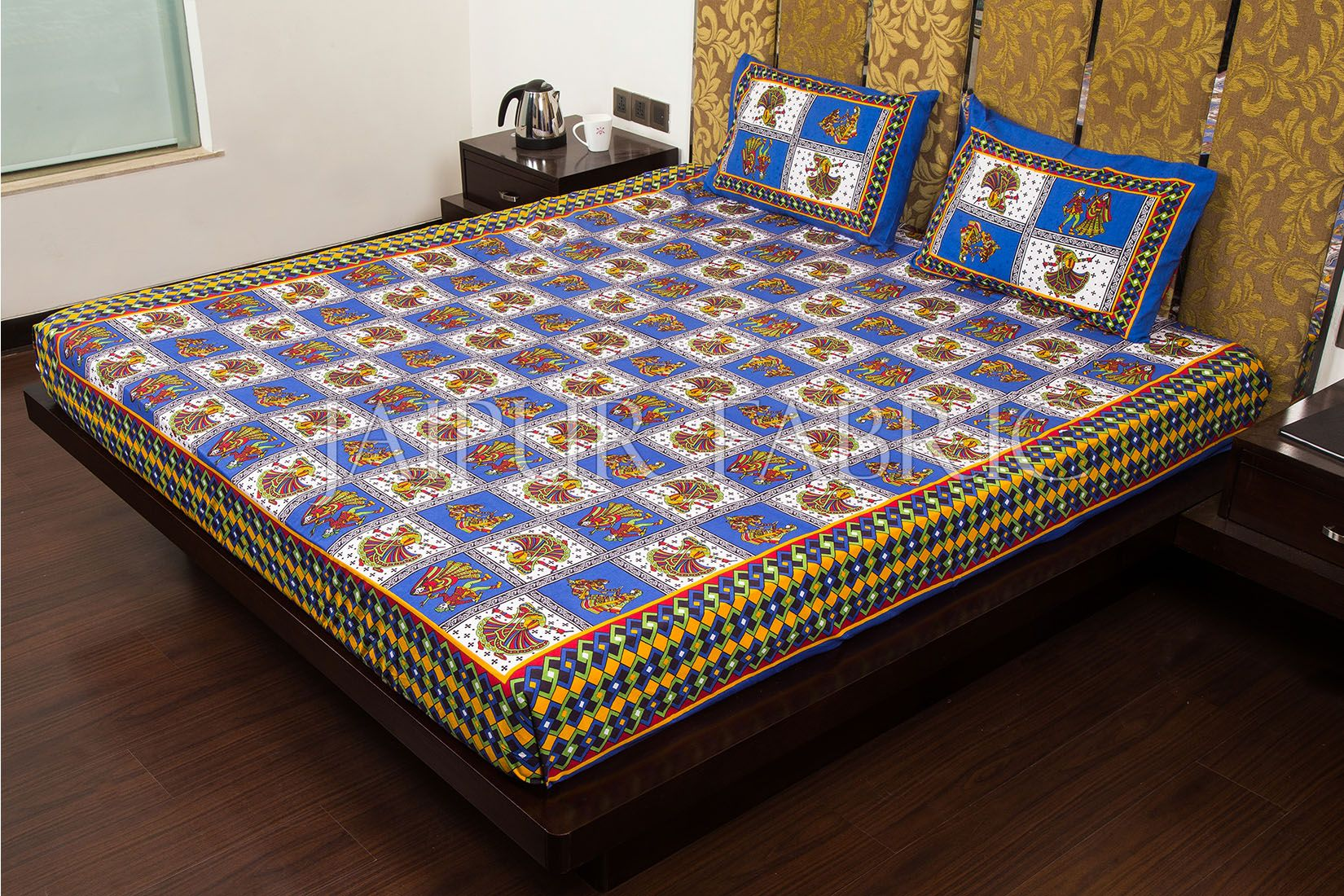 Blue Color Jaipuri Folk Dance Print Cotton Double Bed Sheet