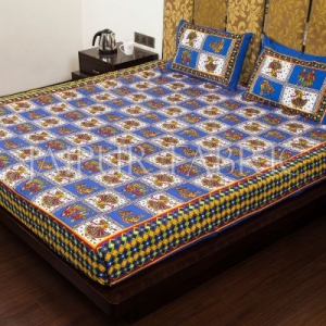 Blue Color Jaipuri Folk Dance Print Cotton Double Bed Sheet