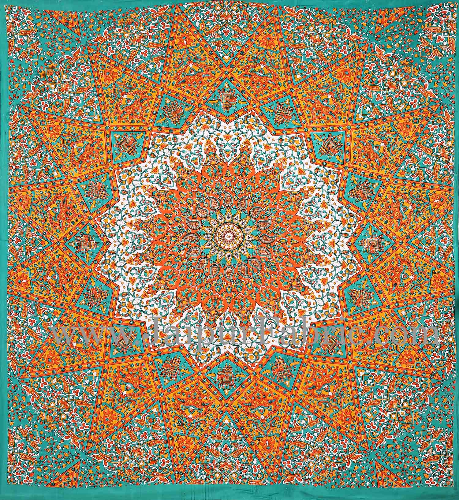 Green and Orange Mandala Tapestry wall hanging and beach throw