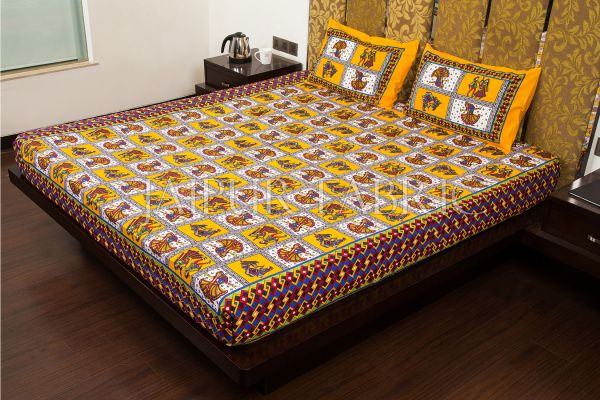 Yellow Color Jaipuri Folk Dance Print Cotton Double Bed Sheet
