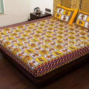 Yellow Color Jaipuri Folk Dance Print Cotton Double Bed Sheet