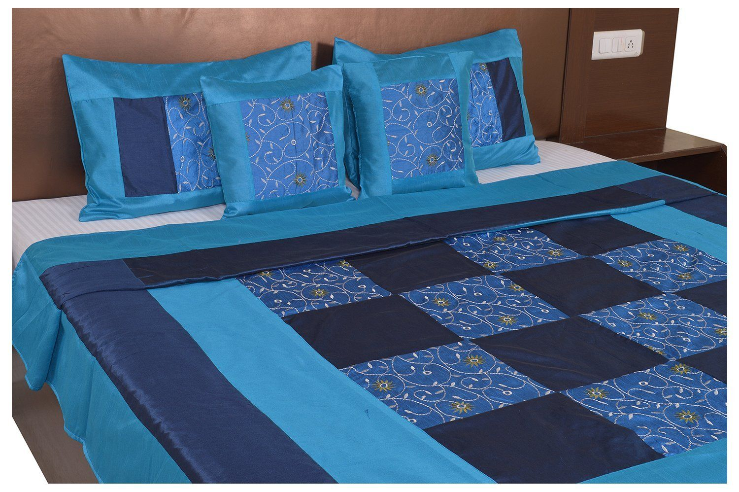 Blue And Firozi Color Check With Embroidery Silk festive Double Bed sheet