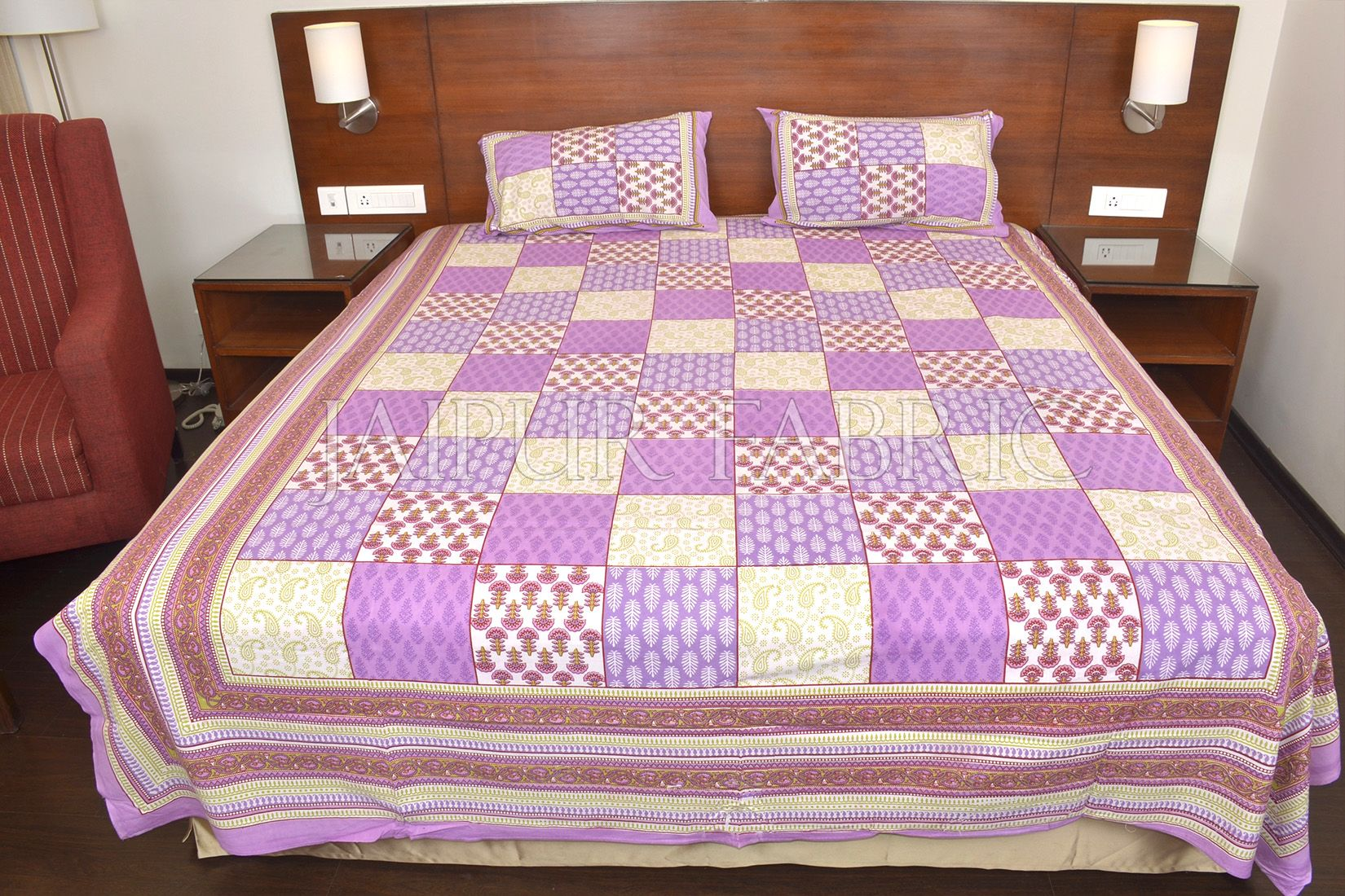 Purple Tropical Print Double Bed Sheet