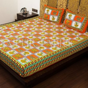 Orange Color Jaipuri Folk Dance Print Cotton Double Bed Sheet