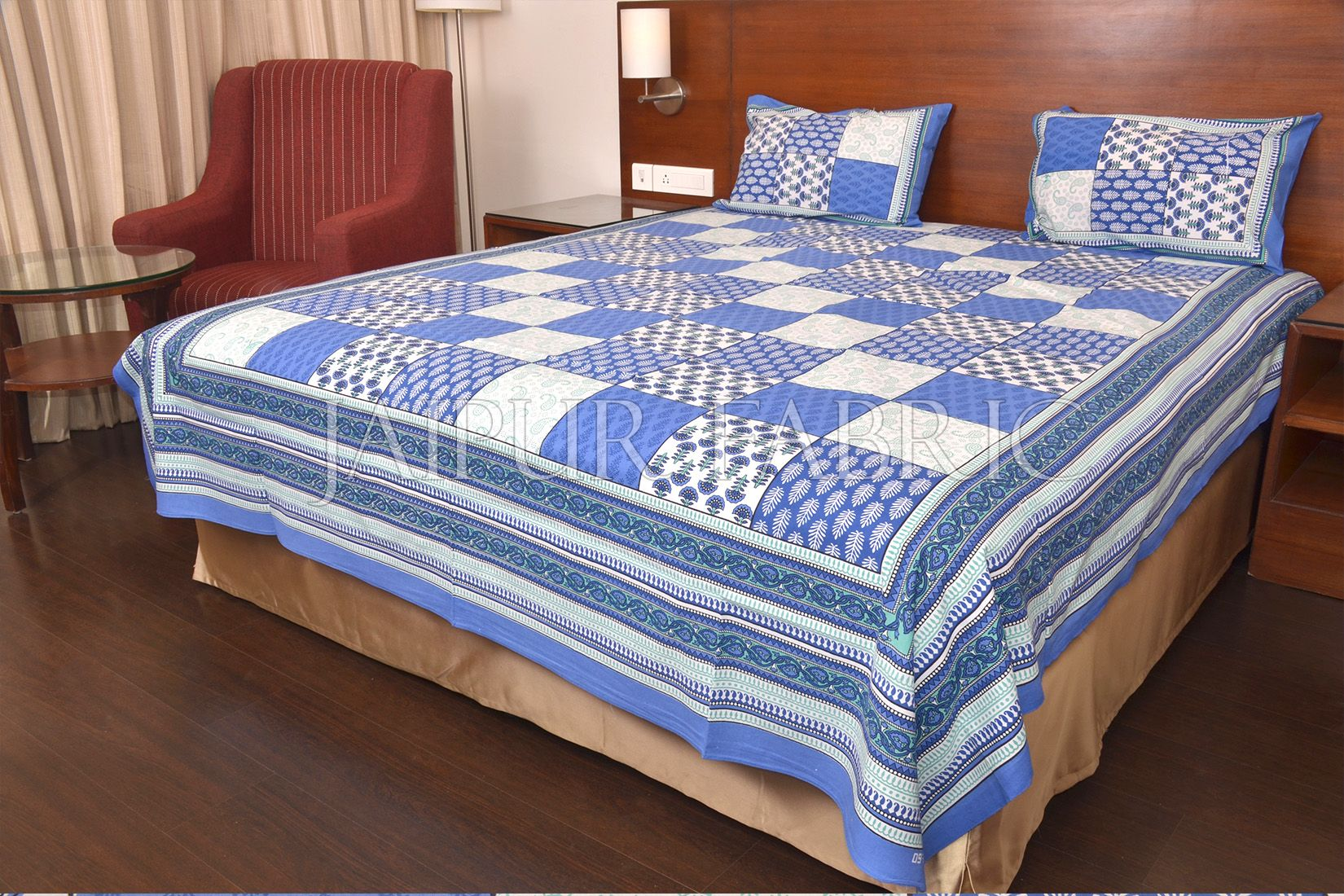 Blue Tropical Print Double Bed Sheet