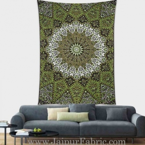 Green Mandala tapestry wall hanging and beach throw