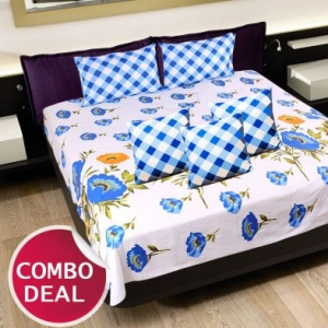 COMBO21 - Set Of Double Bed Sheet and 3 Cushion Covers