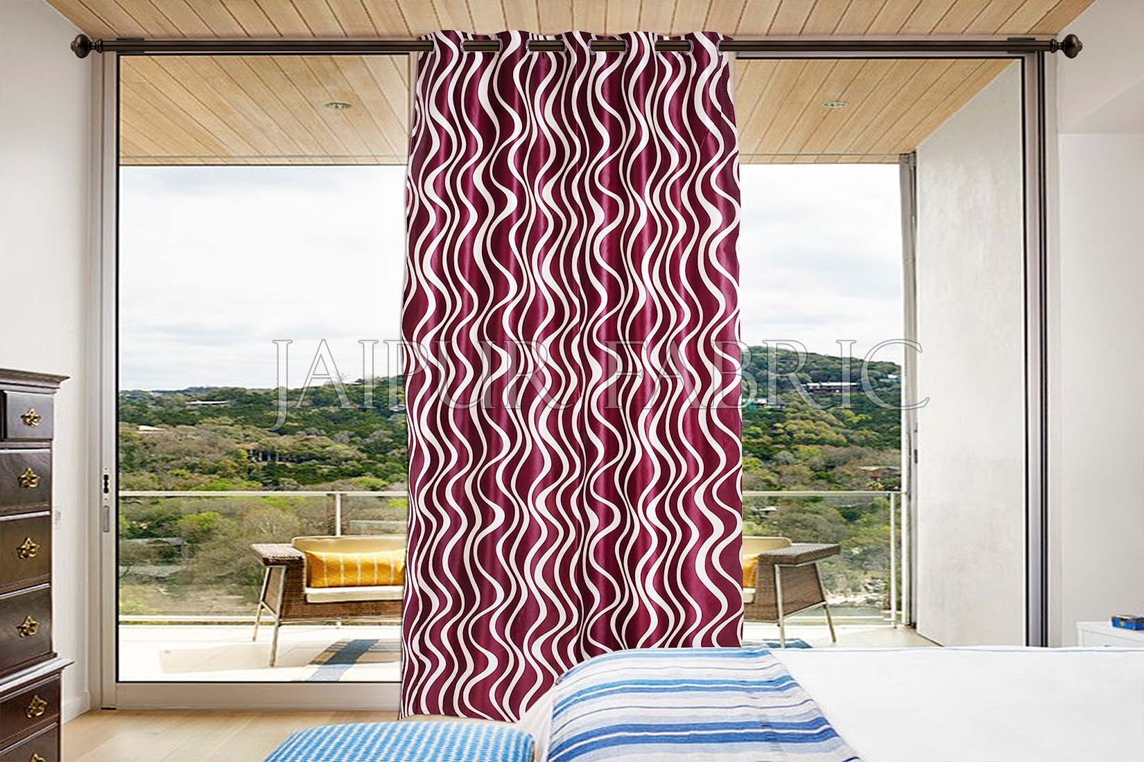 Maroon Printed Polyester Curtain