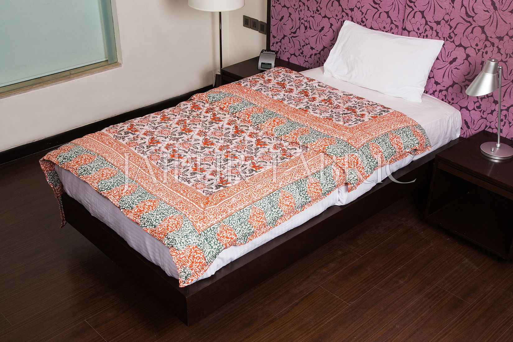Red Green Floral Print Cotton Handmade Single Bed Jaipuri Quilt