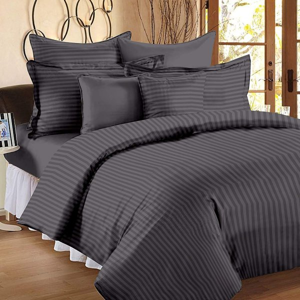 Dark Grey Self Design 300 TC King Size Pure Cotton Satin Slumber Sheet for Double Bed with 2 pillow covers