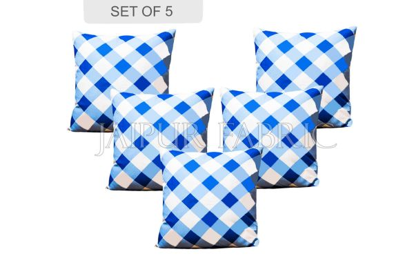 Blue checkered Plaid Pattern Cushion Cover