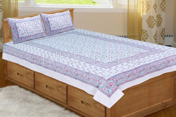 White Base With Pink and Cyan Color Print Single Cotton Bed sheet