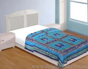 Firozi And Blue Golden Jaipuri  Tree  print Single Bed Quilt