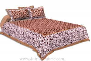 Wholesale Brown Border White Base Circle Pattern Screen Print Cotton Double Bed Sheet
