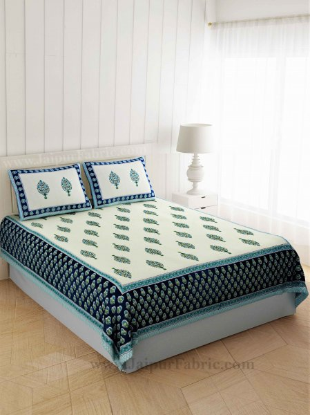 Gorgeous Glaze cotton Green Paan Double Bedsheet
