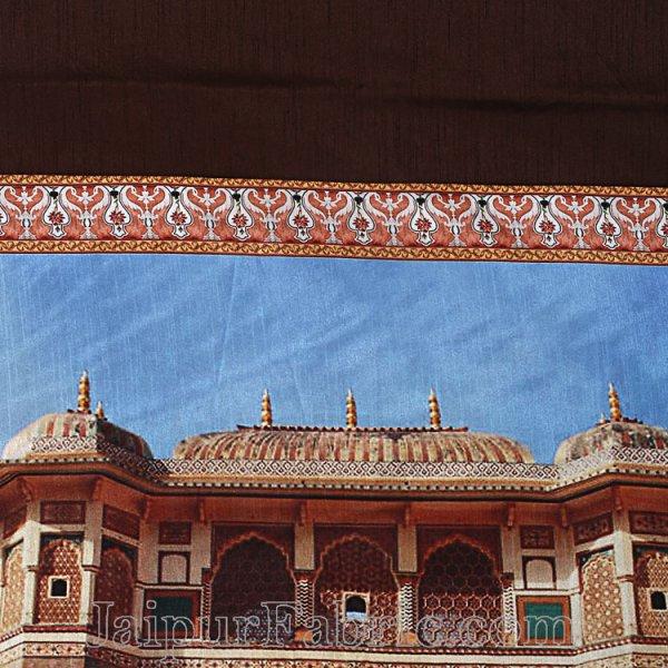 Digital Print Silk Bedsheet Jaipur Amer Fort