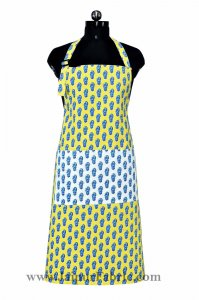 floral block print yellow apron