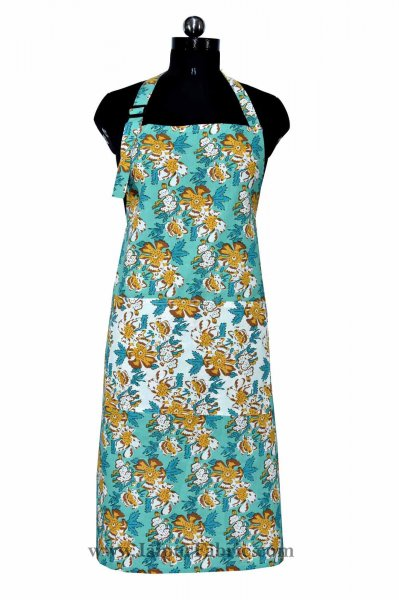 Floral garden sea green apron