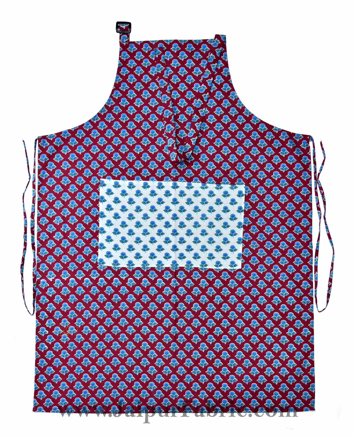 Buti print brick red apron