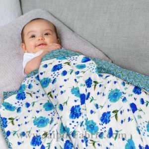 Baby Blanket New Born Blue & White Crib Comforter Toddler Baby Quilt Soft Cute Kids Quilt 120 x 120 cm Multi color