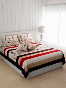 Elegant Thread-work Cycle Silk Double Bed Cover