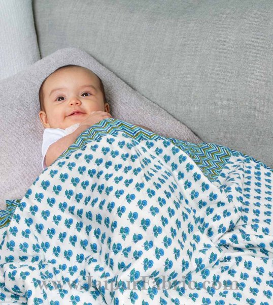 Baby Blanket New Born Muslin Blue & White Crib Comforter Toddler Baby Cotton Quilt Soft Cute Kids Quilt 120 x 120 cm Multi color