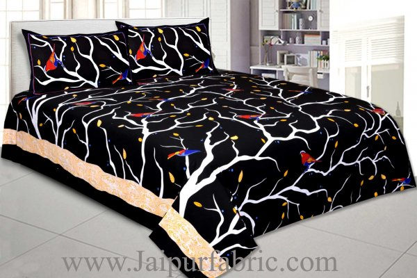 Indian Sparrow Double Bedsheet Black Color With 2 Pillow Covers