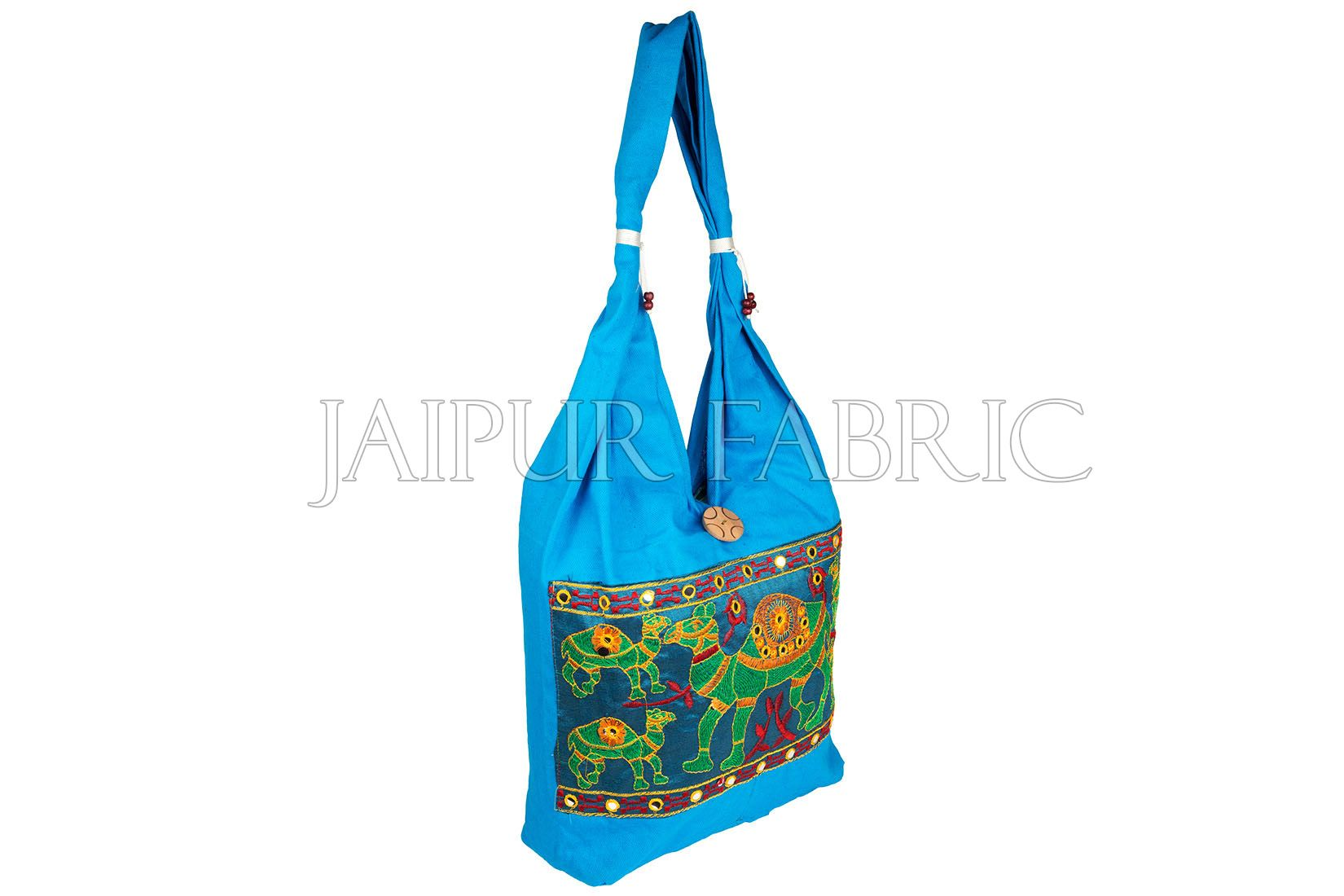 Blue Camel Embroidered Hand Bag