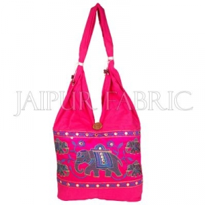 Pink Elephant Embroidered Hand Bag